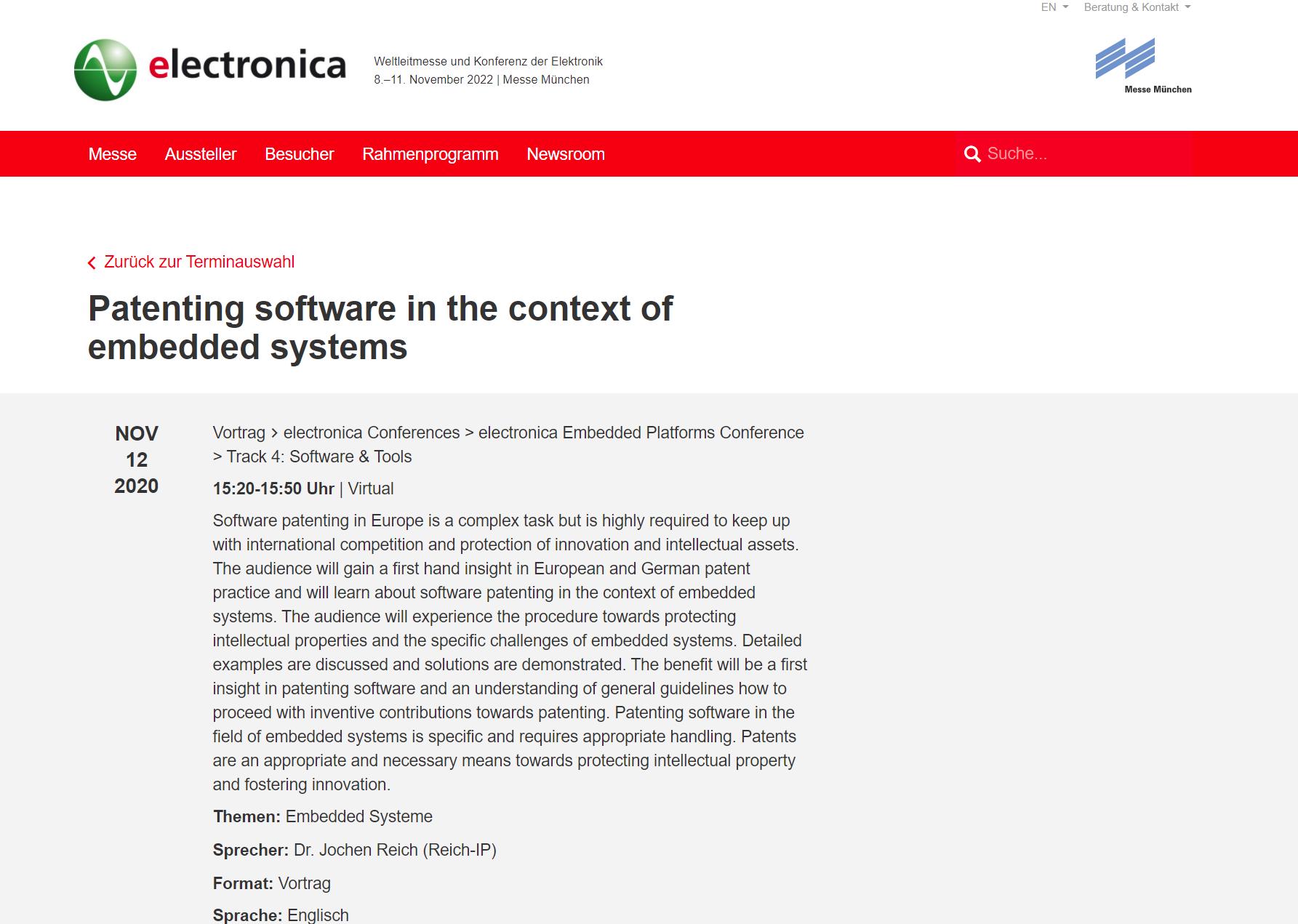 """Vortrag bzgl. Patentierung von """"Embedded Systems"""" auf electronica"""