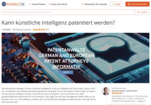 Alles zur Patentierung von Software/ Softwarepatente, Patentanwalt München