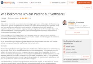 Wie bekomme ich ein Patent auf Software?