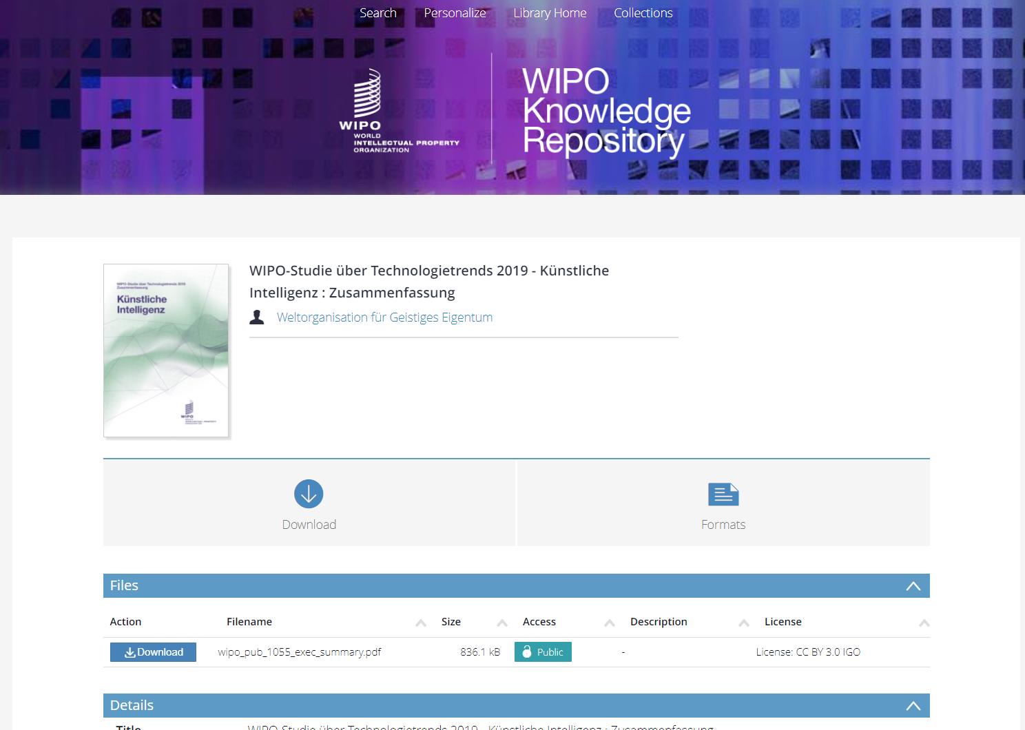 WIPO-Studie über Technologietrends 2019 – Künstliche Intelligenz : Zusammenfassung