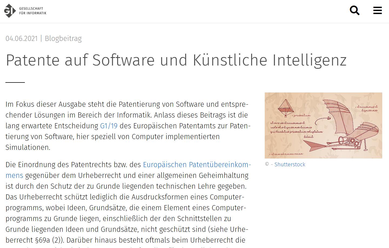 Artikel für GI: Patente auf Software und Künstliche Intelligenz